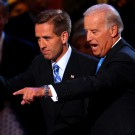 "UNITED STATES - AUGUST 27:  Joe Biden, right, a Democratic senator from Delaware and vice presidential running mate of presidential candidate Senator Barack Obama of Illinois, walks with his son Joseph ""Beau"" Biden, attorney general of Delaware, on day three of the Democratic National Convention (DNC) in Denver, Colorado, U.S., on Wednesday, Aug. 27, 2008. The DNC ends on Aug. 28.  (Photo by Matthew Staver/Bloomberg via Getty Images)"