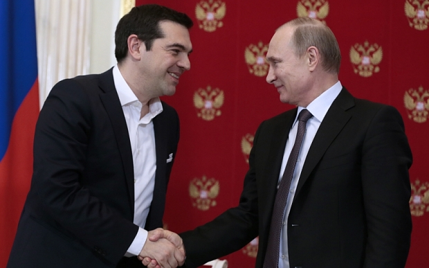MOSCOW, RUSSIA. APRIL 8, 2015. Greece's prime minister Alexis Tsipras and Russia's president Vladimir Putin attend a press conference following their meeting at Moscow's Kremlin. Mikhail Metzel/TASS  PHOTOGRAPH BY TASS / Barcroft Media  UK Office, London. T +44 845 370 2233 W www.barcroftmedia.com  USA Office, New York City. T +1 212 796 2458 W www.barcroftusa.com  Indian Office, Delhi. T +91 11 4053 2429 W www.barcroftindia.com
