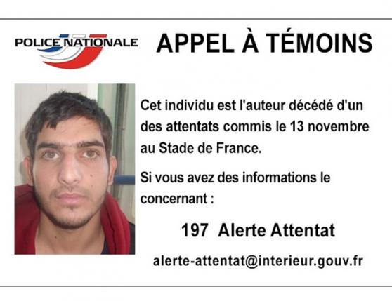 A man identified as a deceased attacker near the Stade de France soccer stadium on November 13, 2015, is seen in this call for witnesses notice handout image released by the French Police Nationale information services on their Twitter account on November 17, 2015. REUTERS/Police Nationale/Handout via Reuters